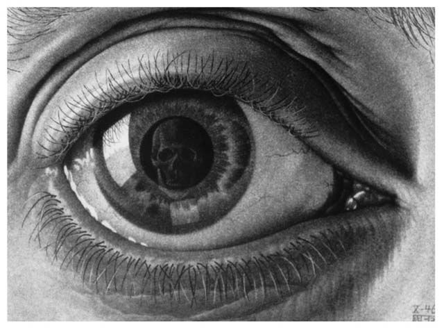 "M. C. Escher.  ""The eye is the window of the soul"".  ""Eye"" see death in life, life in death. Does anyone else find it interesting that (in English, at any rate) ""I"" and ""eye"" are homonyms?"