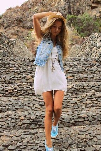 Women's Light Blue Denim Vest, White Skater Dress, Aquamarine Low Top Sneakers, Khaki Straw Hat