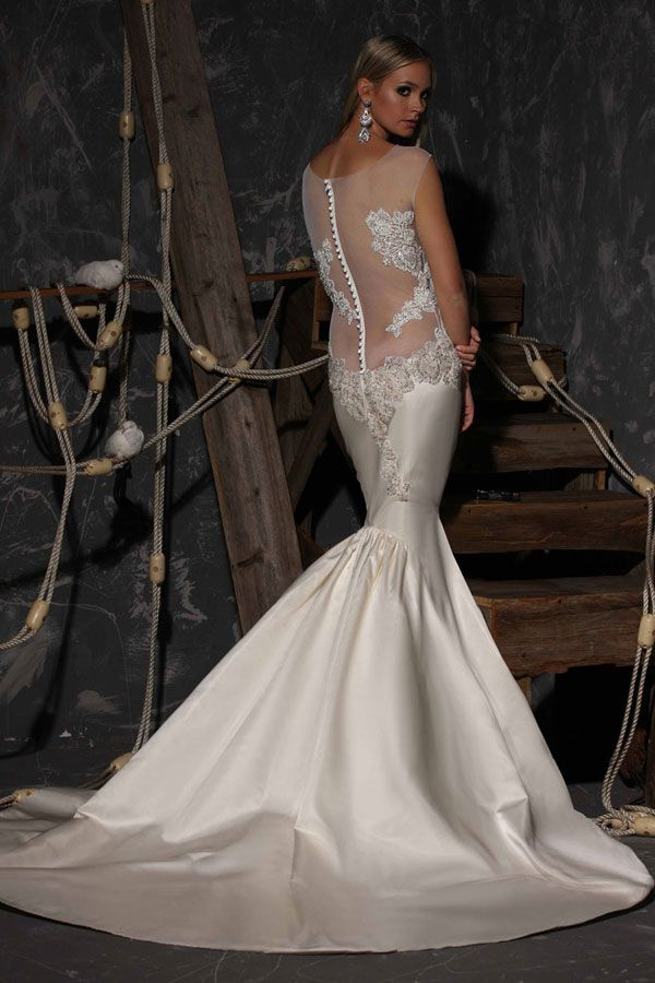 Backless wedding dresses ideas http weddingdecorationshq for Backless satin wedding dress