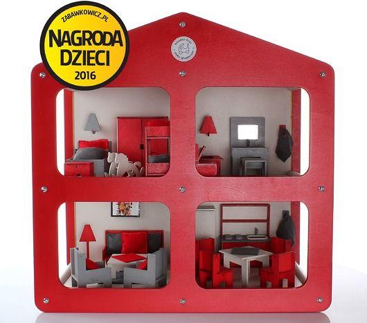 zabawki - klocki i zabawki drewniane-Designerski drewniany domek dla lalek z meblami!