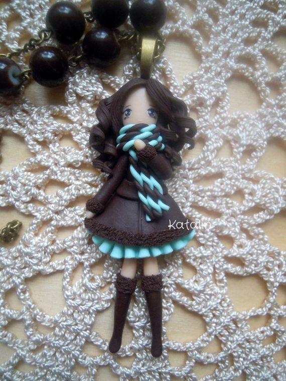 Kawaii chibi ooak doll hiver fille collier en argile POLYMERE fimo