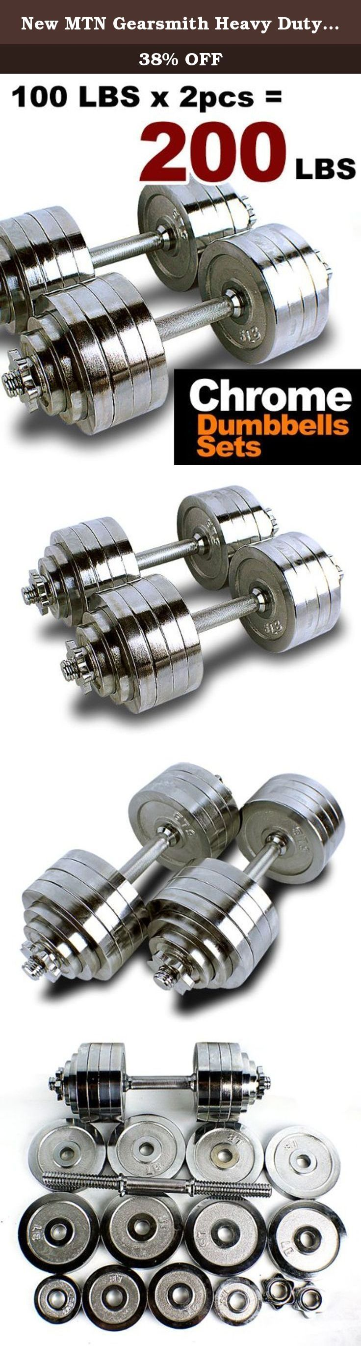 New MTN Gearsmith Heavy Duty Adjustable Cast Iron Chrome Weight Dumbbell Set Dumbbells 52.5 100 105 200 lbs (Silver-Chrome-Coated, 200 LB). This special sales is for various style and size of the adjustable dumbbell kit (52.5 lbs, 100 lbs , 105 lbs or 200 lbs). Not everyone who is interested in getting a better body through strength training has the necessary room in their home for a dozen or more sets of dumbbells. This adjustable and versatile dumbbell kit is small, convenient, and easy…