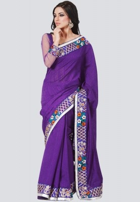 Purple coloured, embroidered saree from the house of Bahubali. Made of silk, this saree measures 6.30m including a blouse piece. Look your best by wearing this elegant purple coloured saree from the house of Bahubali. This saree is designed according to the latest trends with a traditional touch.