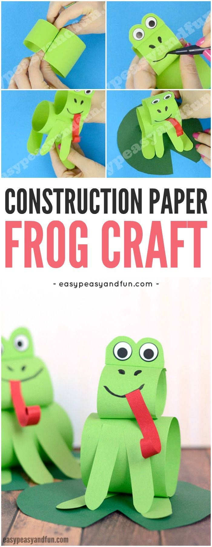 Paper Frog Craft for Kids. Fun Spring Craft Idea for Kids to Make. #papercraftsforkids #frogcrafts #Springcraftsforkids