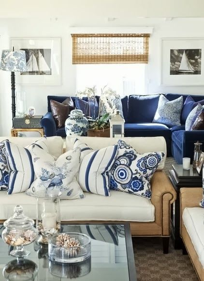 Barclay Butera Living On The Coast Traditional Room Navy Sectional Cream Couch Beautiful Blue Pillows