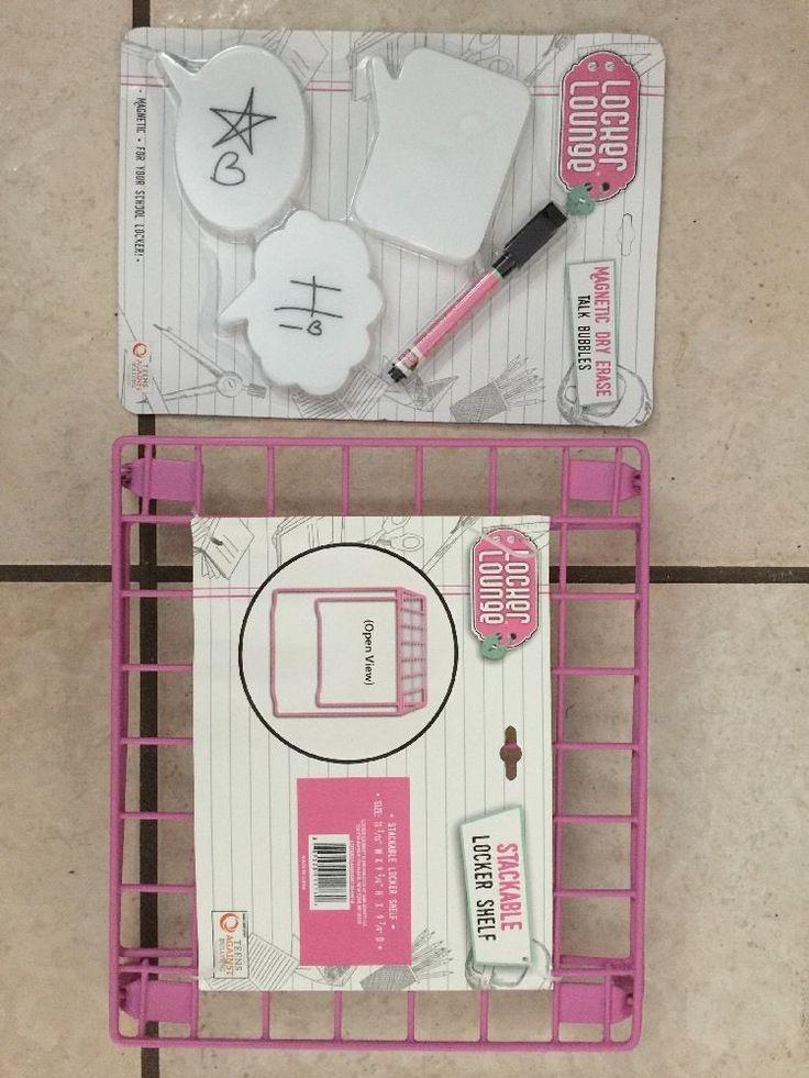 Locker Lounge 5 Piece Magnetic Locker Set  Stackable Wire Locker Shelf Light  | eBay