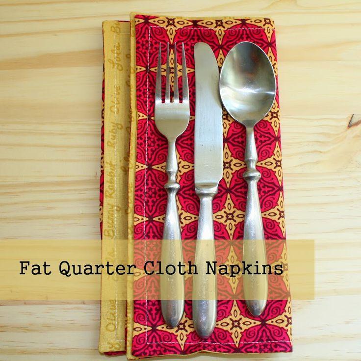 sew: Fat Quarter Cloth Napkins Tutorial    Made with Moxie