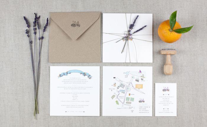 Invitación de boda, lavanda y naranjas. Oranges and lavender Wedding invitation by ppstudio
