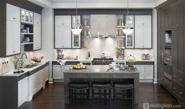 صور مطابخ حديثه و اشكال مطابخ مودرن و مميزه من موبيكان In 2020 Gray And White Kitchen Contemporary Kitchen Kitchen Cabinets Grey And White