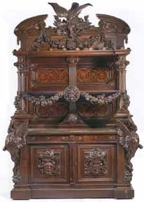 """Renaissance Revival inlaid and carved walnut buffet, 8'10"""" high, commissioned for the billiards room of the Milton Slocum Latham residence, Thurlow Lodge, in Menlo Park, California. It was executed by Herter Brothers, New York, 1872, and stamped """"Herter Brothers, New York."""" Estimated at $100,000/120,000, it sold for $194,000 to Sacramento, California"""