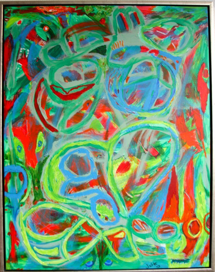 """Le battaglie terrestri"""" – Kampene om jorden, 90 cm x 70 cm acrylic on canvas."""