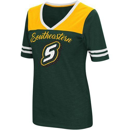 Colosseum Athletics Women's Southeastern Louisiana University Twist 2.1 V-Neck T-shirt (Green Dark, Size