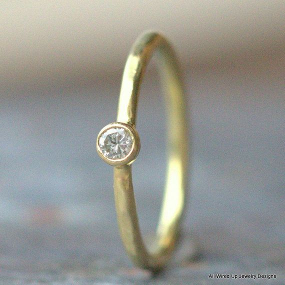 18k Gold Diamond Ring  18k Gold Engagement Ring  Eco by PPennee, $445.00
