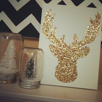 Glitter Reindeer DIY-for over the fire place