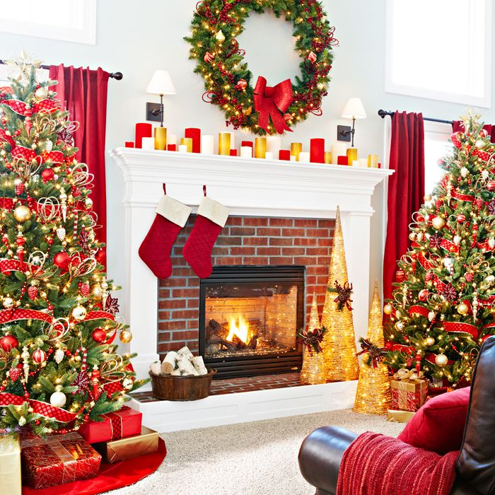 trees flanking fireplace holidays