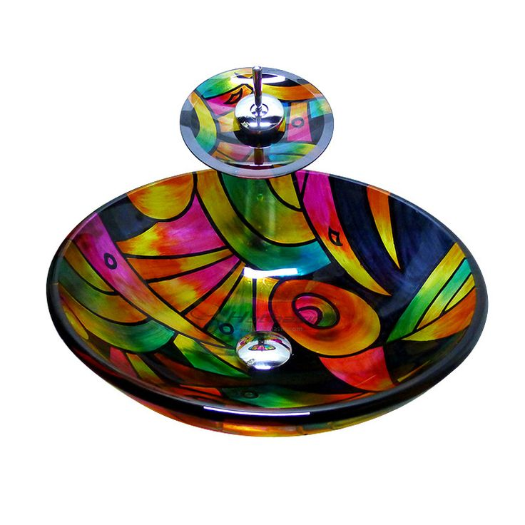 Decorative Stained Glass Multi-Color Maple Pattern Bathroom Sink