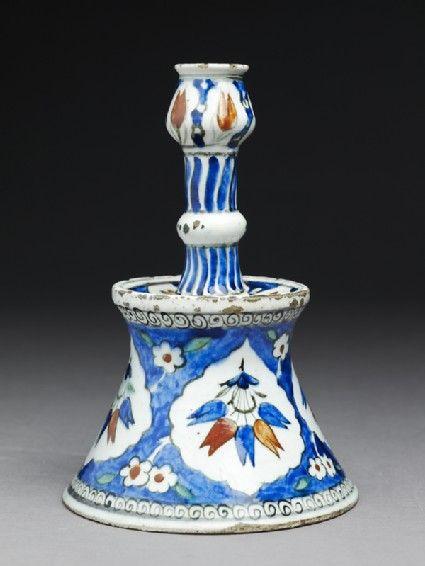 Candlestick with tulip blossomsside, Iznik, c. 1560 Ottoman Period (1281 - 1924)