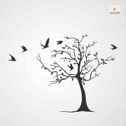 muurschilderij boom en vogels zoeken