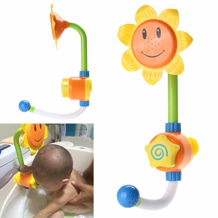 Bambini bambini bagnetto giocattolo girasole doccia rubinetto acqua del bagno play giocattolo apprendimento regalo imballaggio al dettaglio