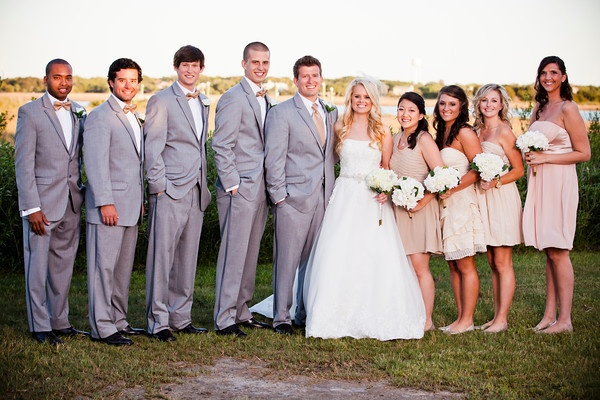 grey and tan wedding party