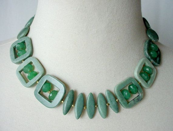 Hey, I found this really awesome Etsy listing at https://www.etsy.com/listing/129612966/green-chunky-statement-necklace