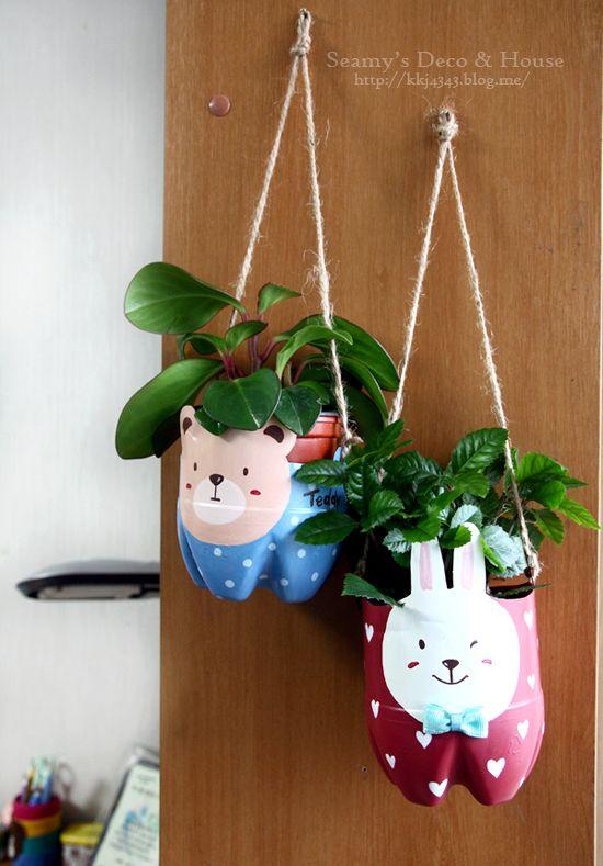 Macetero de conejito y gatito reciclado 1