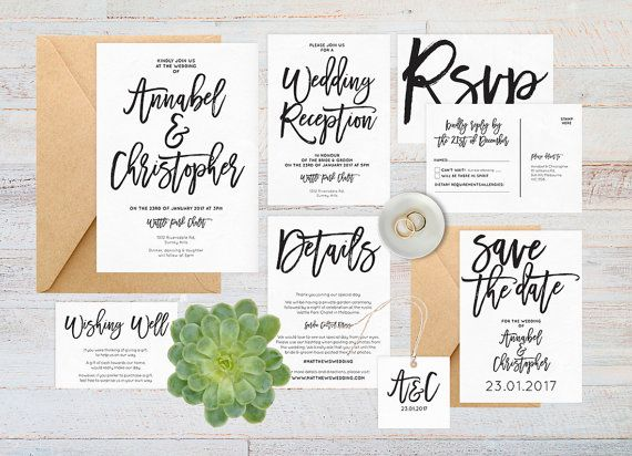 Boho chic black and white wedding invitation set available in a range of colours
