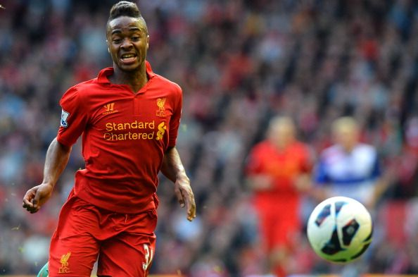 Liverpool's English midfielder Raheem Sterling controls the ball during his team's English Premier League football match against Reading at Anfield in Liverpool, north-west England on October 20, 2012