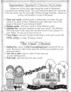 Speller's Choice - spelling homework ideas by the month - AMAZING!