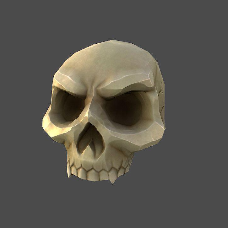 obj low poly cartoon skull Skull icon, Skull game