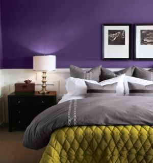 I like the grey bed set. The purple wall needs to be a different shade though.