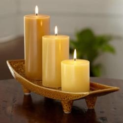 """Global Inspirations™ Pillar Garden Tray  The reactive glaze finish gives each ceramic tray one-of-a-kind appeal. Add a row of pillar candles, sold separately, for an instant centerpiece. 3"""" h, 17 3/4"""" w."""