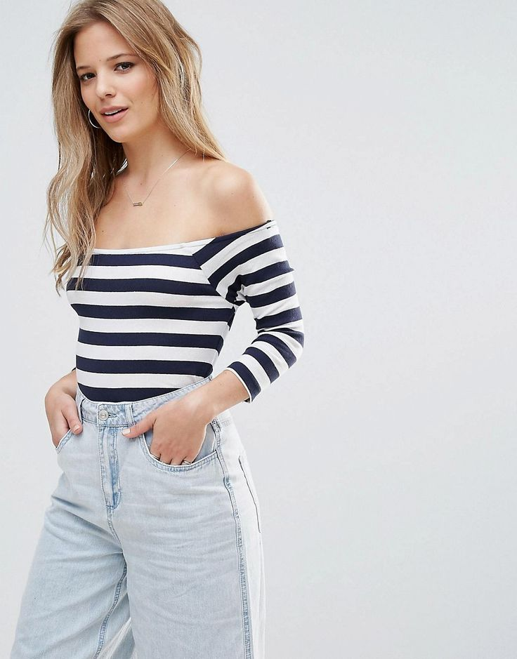 Buy it now. Vero Moda Stripe Bardot Top - Multi. Top by Vero Moda, Cotton stretch fabric, Bardot neck, Crop sleeves, Stripe design, Regular fit - true to size, Machine wash, 95% Cotton, 5% Elastane, Our model wears a UK S/EU S/US XS and is 173cm/5'8 tall. ABOUT VERO MODA Danish fashion house, Vero Moda, made their mark on the fashion scene by using top models Kate Moss and Gisele Bundchen in their marketing campaigns. With emphasis on quality, affordable and inspiring clothing; their range…