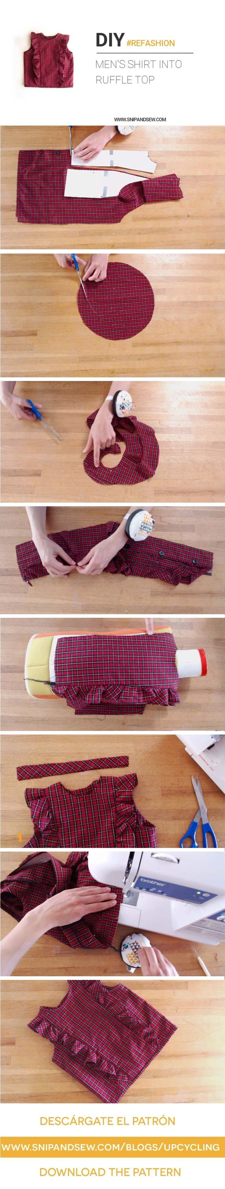 DIY/ UPCYCLE - Refashioning an old shirt into a Flounce Top (Video Tutorial) Free pattern available (Size 2-7)