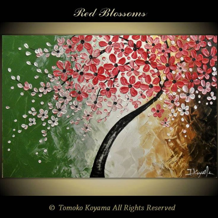 Original Modern Impasto Art  Painting on Gallery wrapped Canvas 36 x 24, Home Decor, Wall Art ---Red  Blossoms---. $199.00, via Etsy.