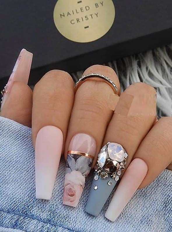 22 French matte ombre, blue-gray and crystals on long coffin nails, #on #blue gray #f …