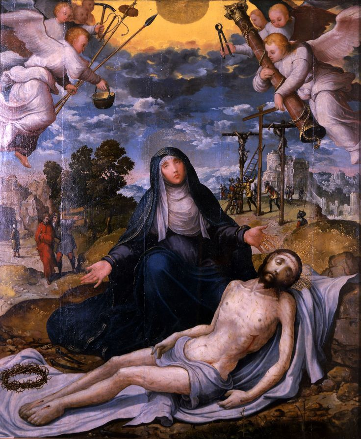 Juan Correa de Vivar - Lamentation of Mary over the Dead Christ, with Angels Holding the Symbols of the Passion; Haggerty Museum of Art, Marquette University, Wisconsin, USA; 16th century