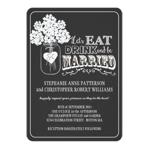 Exceptional Eat, Drink U0026 Be Married Chalkboard Style Wedding 5x7 Paper Invitation Card