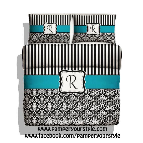 Постельное белье с вашей монограммой/Personalized or Monogrammed bedding - Turquoise, black and white bedroom