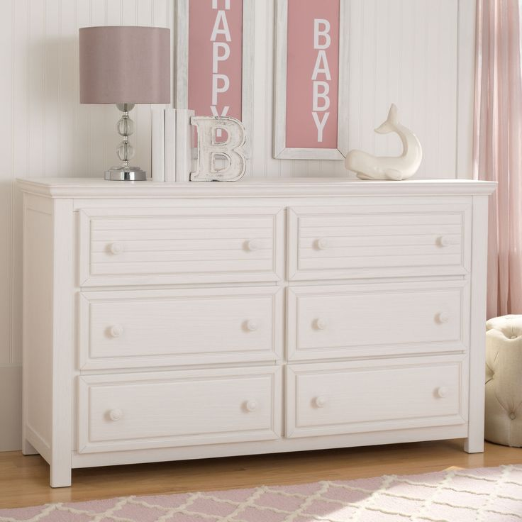 Simmons Kids Oakmont 6 Drawer Dresser, Rustic Bianca (rustic bianca - Off-White (Beige) Finish), Size 6-drawer