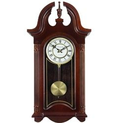 Bedford Clock Collection 26.5 Colonial Mahogany Cherry Oak Finish Chiming Wall Clock with Roman Num L572-MEGA-BED-1915