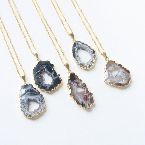 #11-chose 1:Geode Necklace Festival Necklace Rock Necklace Gypsy by mokamoon