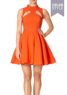MARLEY - Orange High Neck Skater Dress with Cut-out Detail