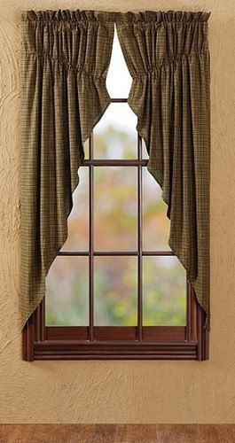 Tea Cabin Lined Prairie Curtains Add country charm to your room when you dress your windows in these Tea Cabin prairie curtains. These curtains come in a set of two and feature an army green, black an