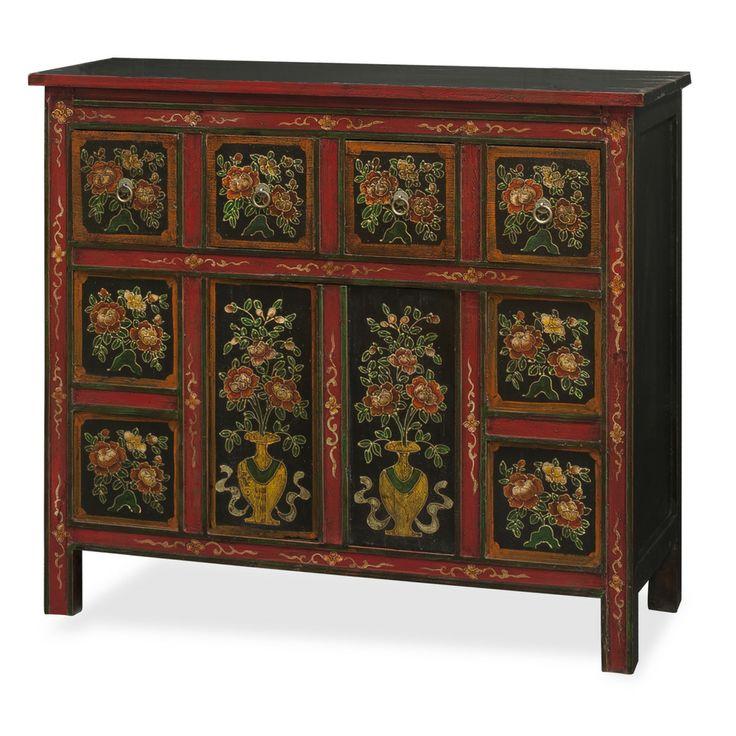 Hand painted tibetan chest muebles orientales muebles for Muebles tibetanos