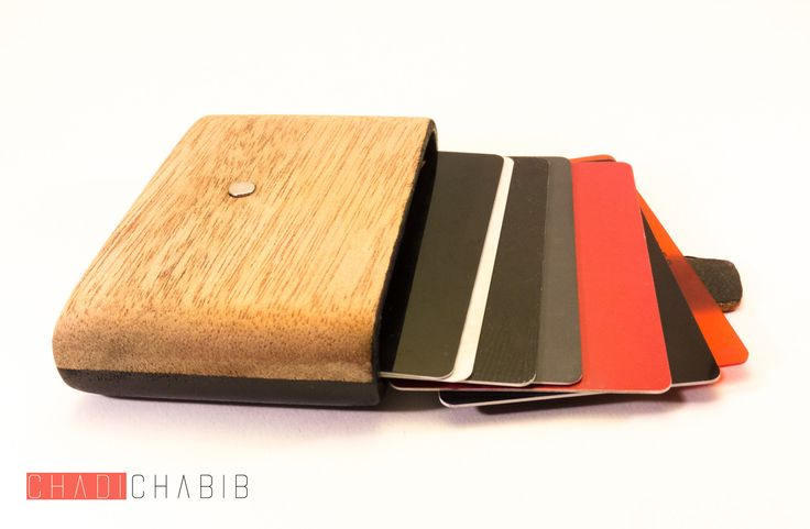 Wood and leather Wallet Handmade by Chadi Chabib   Porte cartes en bois et cuir fait main par Chadi Chabib
