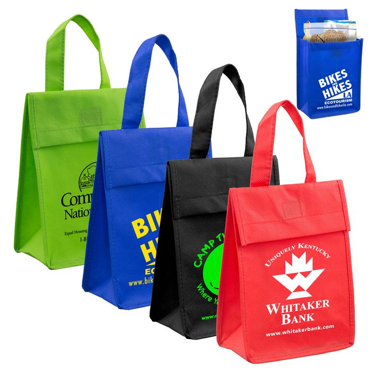 Lightweight non-insulated #tote, perfect for carrying #lunches. #Meals are secured  with the foldable flap and Velcro (R) closure. #Reusable and #recyclable.  #marketing #sales #kitchen #convention #charity #woundedwarrior #fundraiser #logo #events