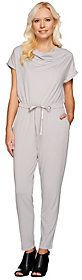 H by Halston Jet Set Jersey Ankle Length Jumpsuit with Cowl Neck