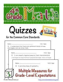 4th Grade Common Core Math Quizzes - All Standards: