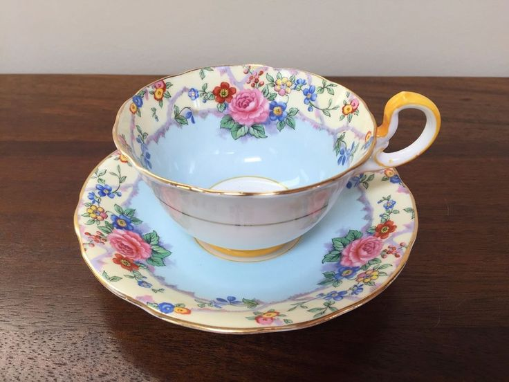 Aynsley BLUE FLORAL Footed Cup & Saucer Set B1534~ England | Pottery & Glass, Pottery & China, China & Dinnerware | eBay!